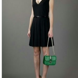 Luxury leather kelly green studded chain bag style